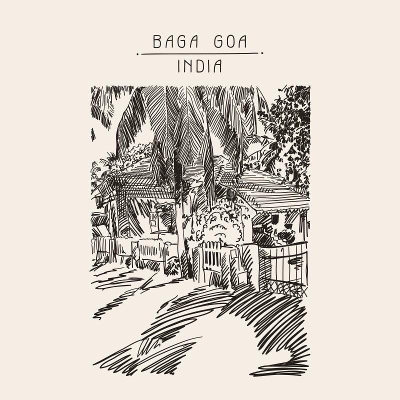 Originele tekening van het landschapsstraat van India Goa Calangute Baga royalty-vrije illustratie