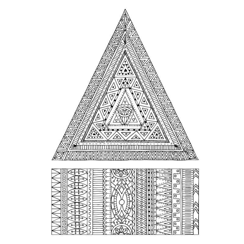Originele tekenings stammendriehoek en banner vector illustratie