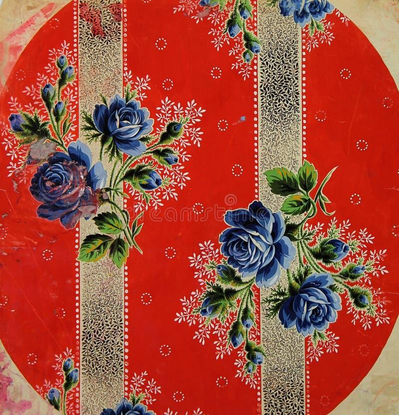Originele textiel uitstekende moderne stijl Schets uitstekende hand geschilderde gouache royalty-vrije illustratie