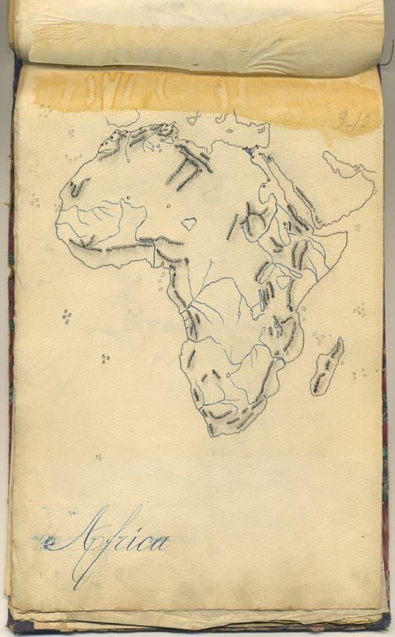 Originele uitstekende kaart van Afrika stock foto
