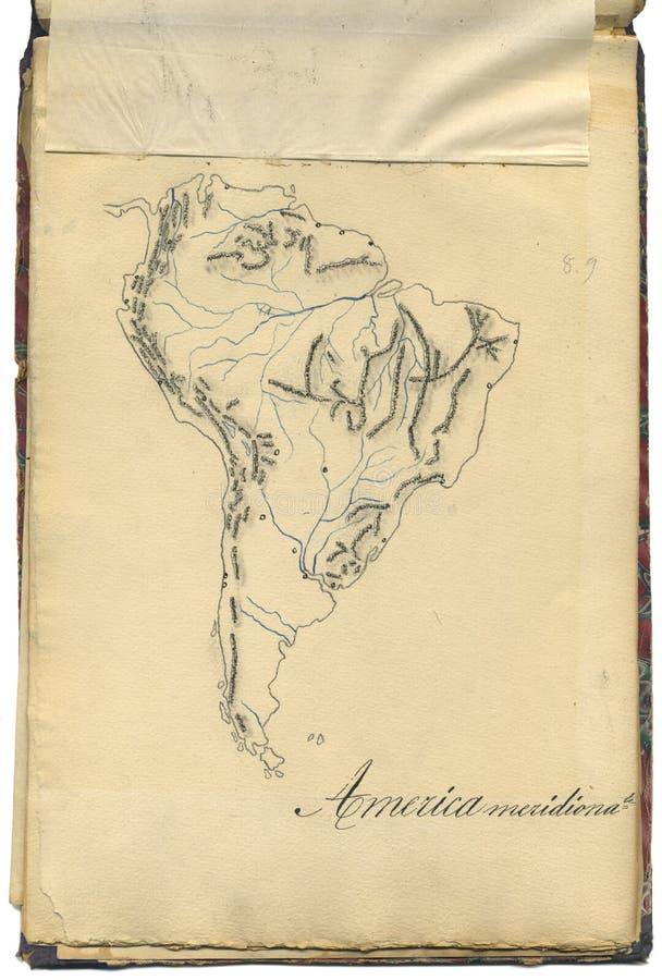 Originele uitstekende kaart van Zuid-Amerika royalty-vrije stock afbeeldingen