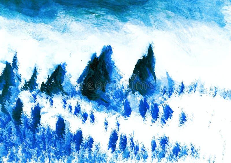 Originele waterverf die - mooie toneelsneeuw dalende plaats schilderen vector illustratie