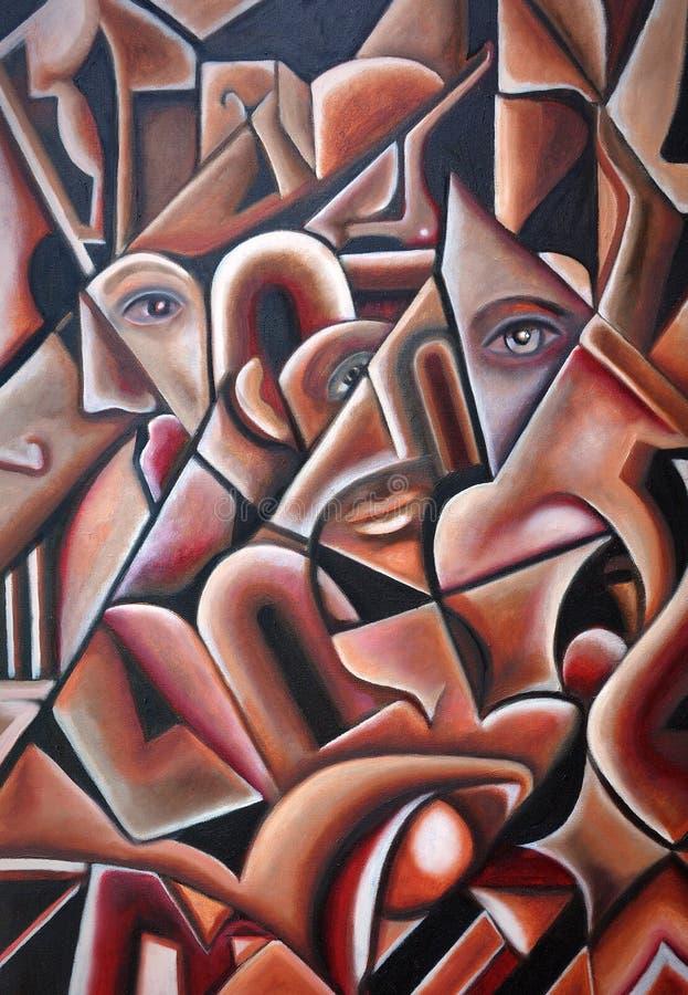 Originell dolde framsidor för Cubism illustration royaltyfri illustrationer