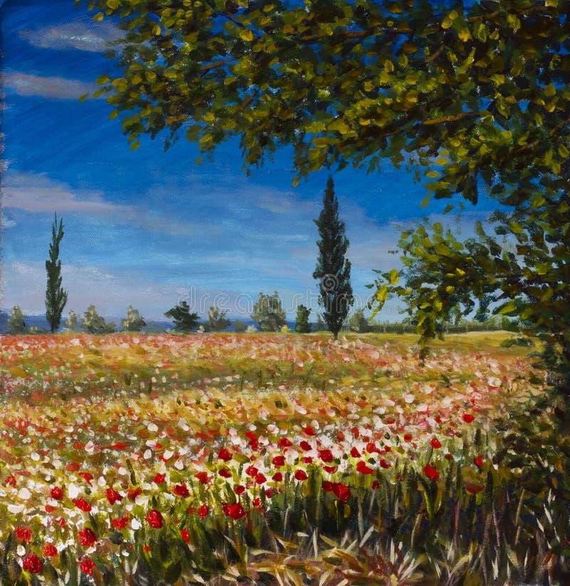 originell målning för abstrakt olja för kanfas färgrik blommig Härligt franskalandskap, lantligt landskapfält av det röda vallmol arkivbild