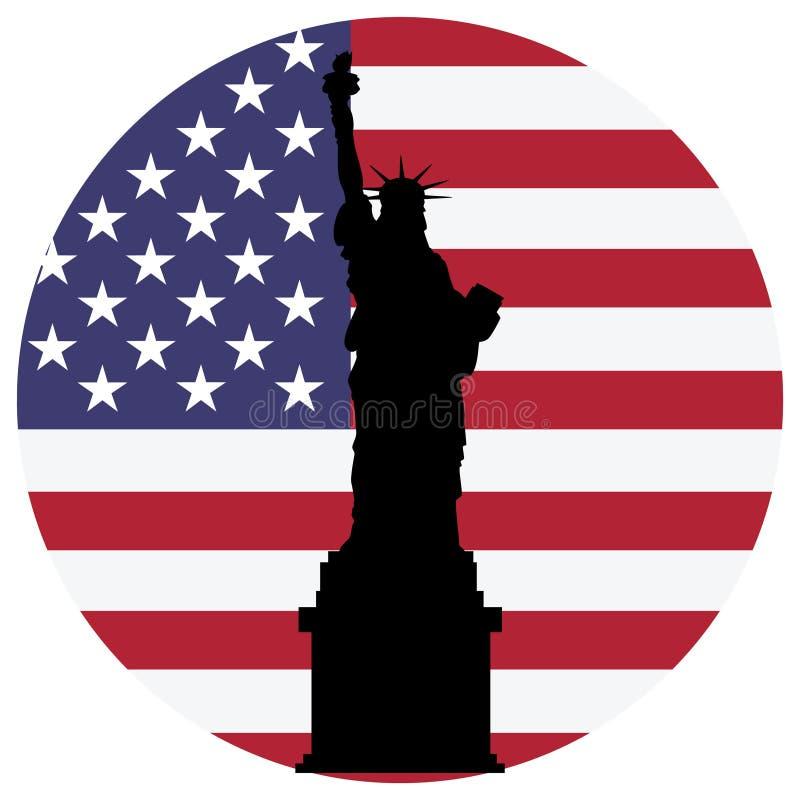 originell staty USA för digital flaggaillustrationfrihet royaltyfri illustrationer