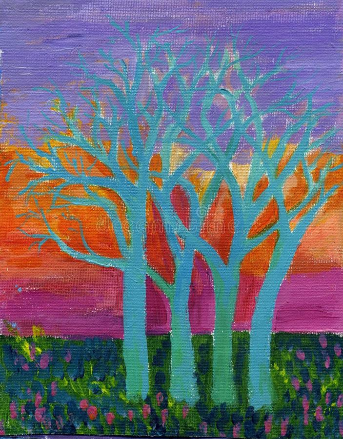 originella målningsskytrees royaltyfri illustrationer