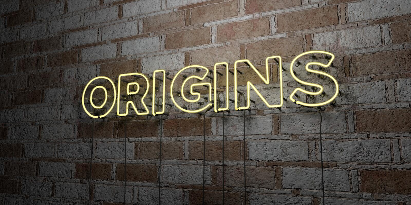 ORIGINI - Insegna al neon d'ardore sulla parete del lavoro in pietra - 3D ha reso l'illustrazione di riserva libera della sovrani royalty illustrazione gratis