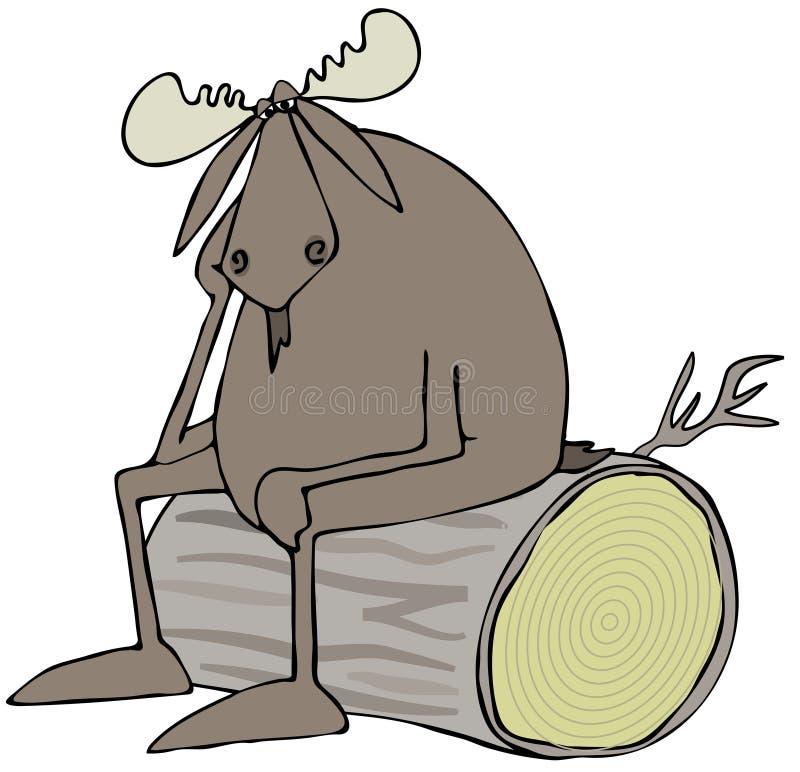 Orignaux déprimés de taureau illustration de vecteur