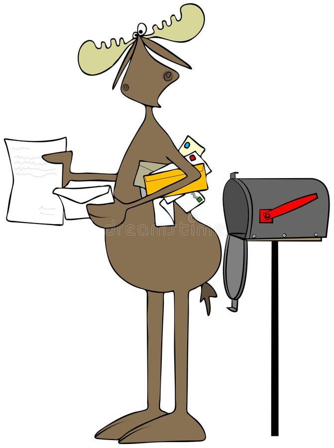 Orignaux recevant des lettres de la boîte aux lettres illustration libre de droits