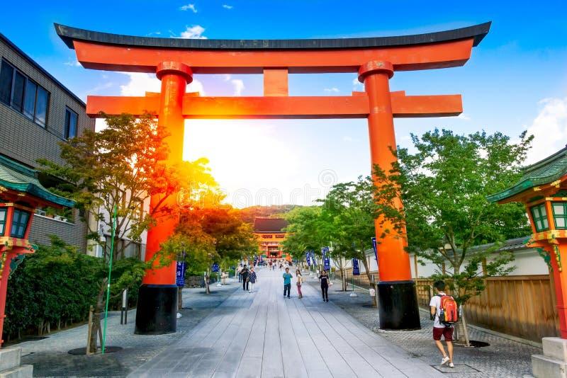 Oriipoorten in het Heiligdom van Fushimi Inari Taisha, Kyoto, Japan royalty-vrije stock foto