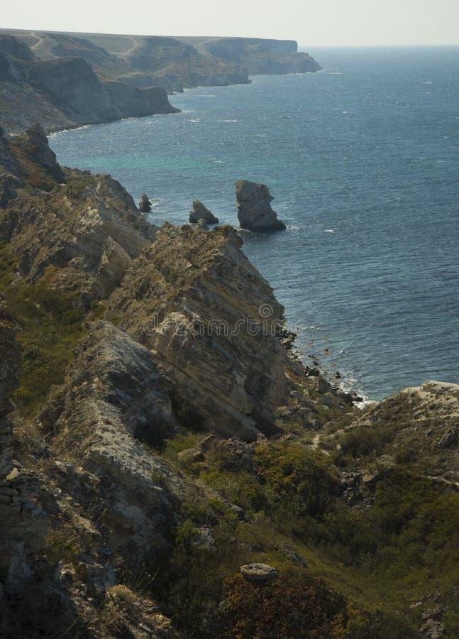 Orilla de mar herbosa rocosa fotografía de archivo