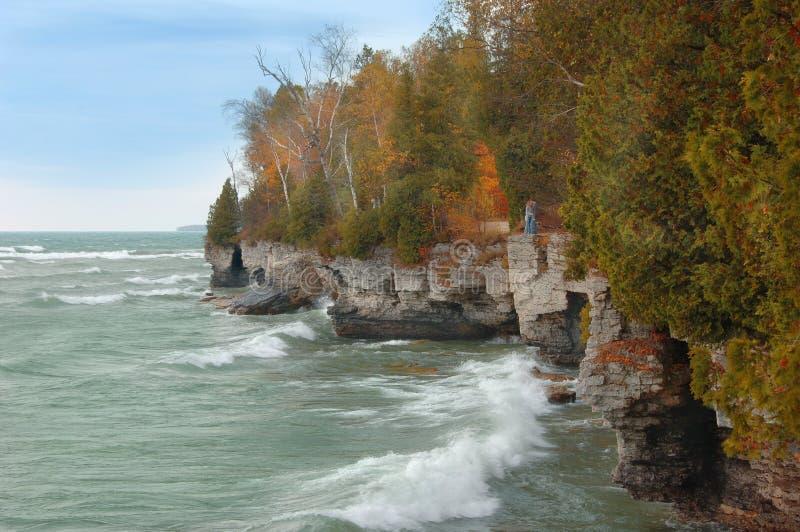 Orilla de Michigan de lago en otoño imágenes de archivo libres de regalías