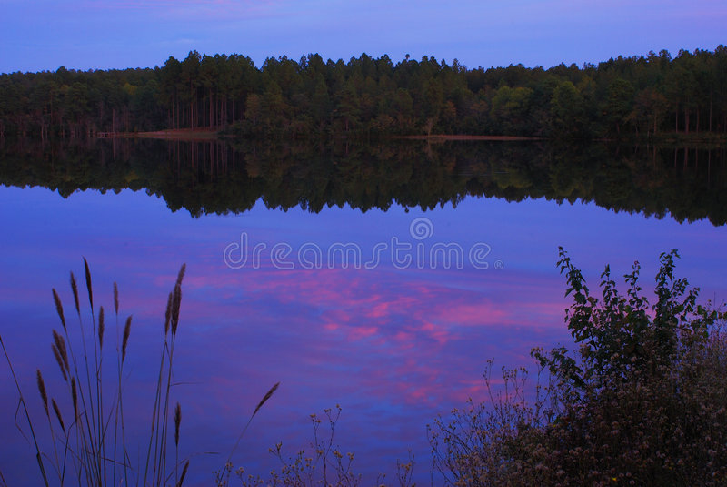 Orilla del lago en la oscuridad imagenes de archivo