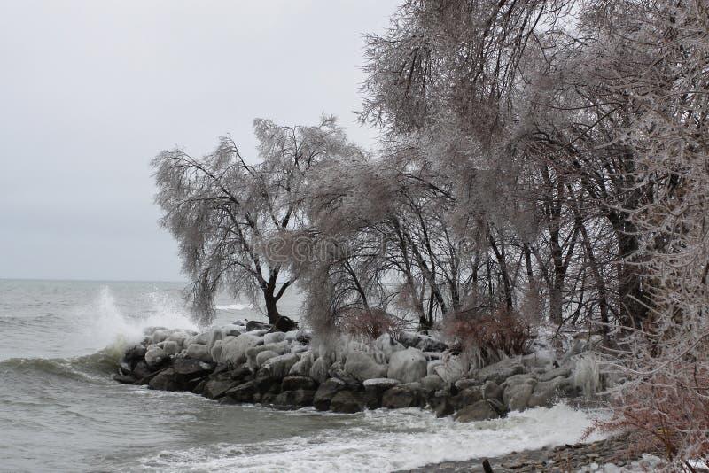 Orilla del lago Ontario después de una tormenta de la lluvia sobrefundida fotos de archivo