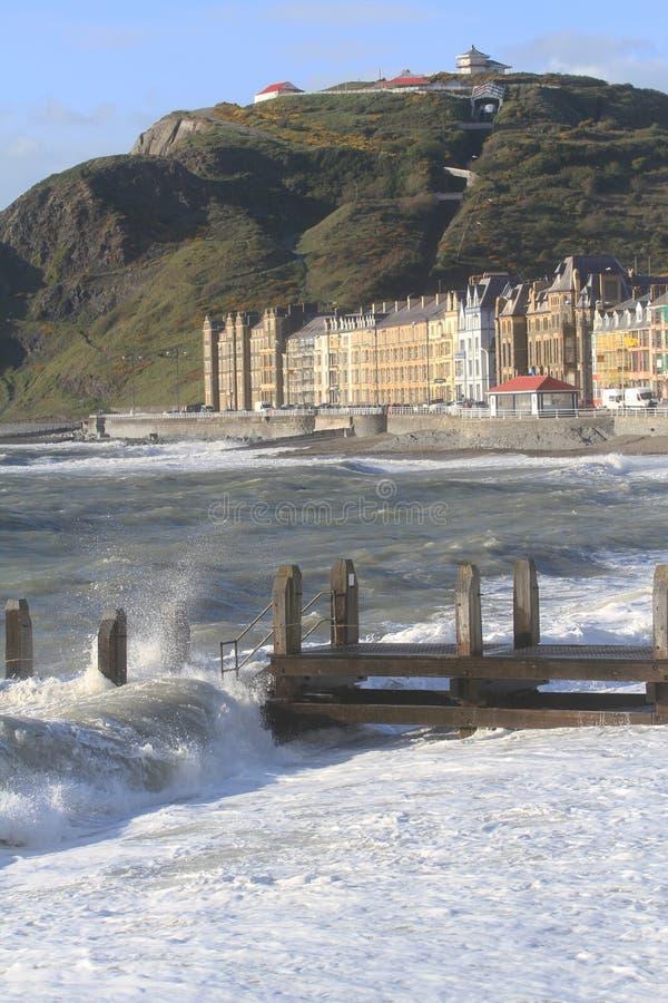 Orilla del mar de Aberystwyth imágenes de archivo libres de regalías