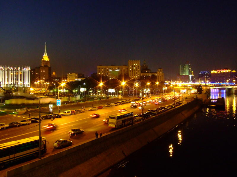 Orilla del río de Moskva en Moscú imágenes de archivo libres de regalías
