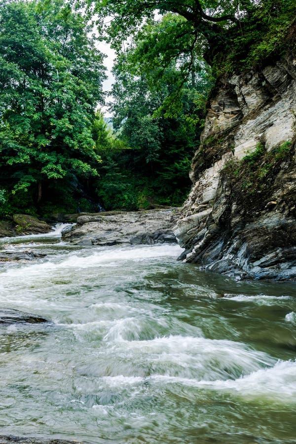 Orilla rocosa de un río de la montaña imagenes de archivo