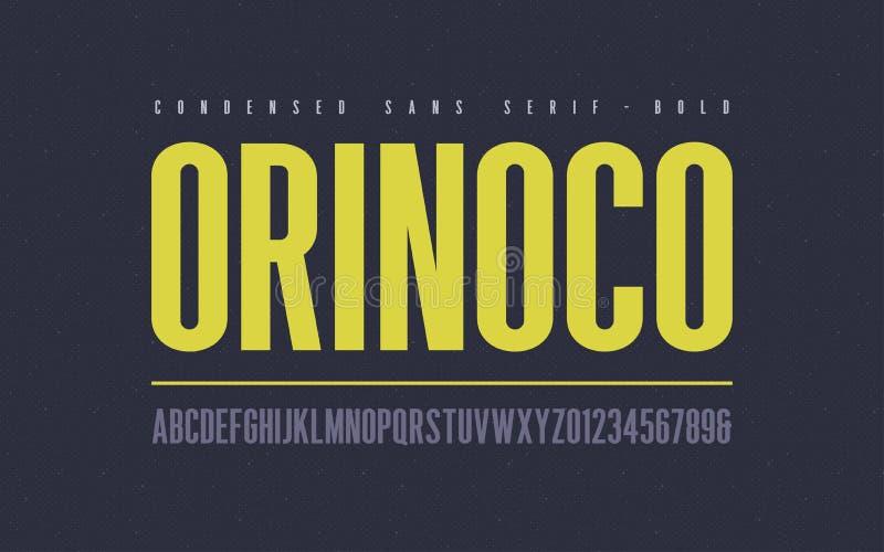 Orinoko condensou a fonte de vetor corajosa do serif de san, alfabeto, caráter tipo, ilustração royalty free