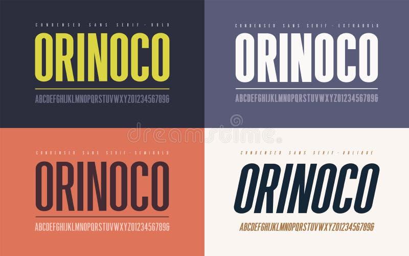 Orinoko ha condensato audace, semi-grassetto, il extrabold e il seri obliquo di san illustrazione di stock