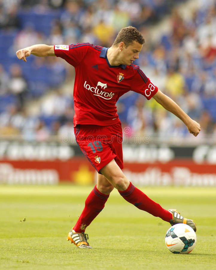 Oriol Riera of Osasuna. In action during a Spanish league match against RCD Espanyol at the Estadi Cornella on May 11, 2014 in Barcelona, Spain stock images