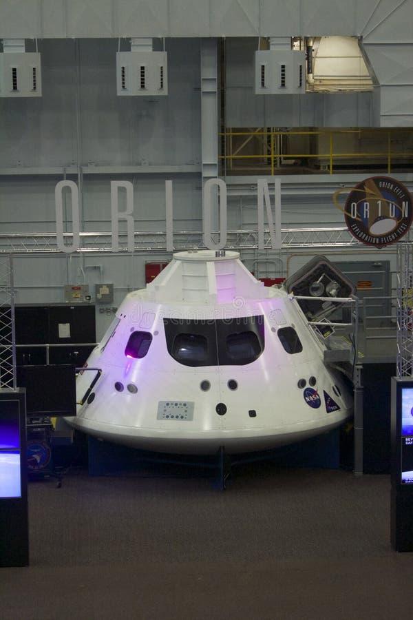 ORION Command Module Capsule bij het Ruimtevoertuigmodel Facilit stock foto's