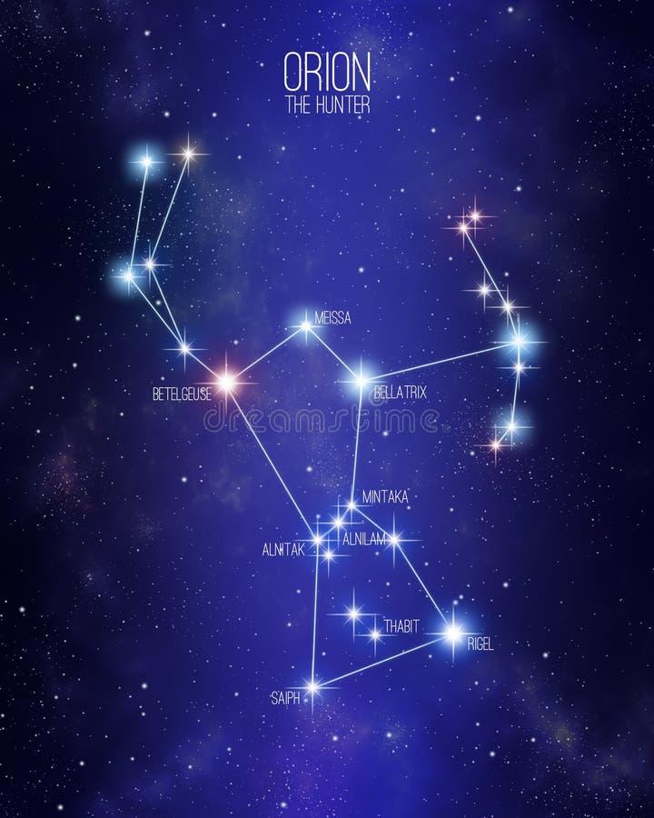 Orion a constelação do caçador em um fundo estrelado do espaço ilustração stock