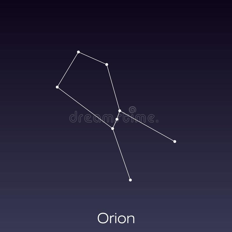 Constellation as it can be seen by the naked eye. Orion constellation as it can be seen by the naked eye vector illustration