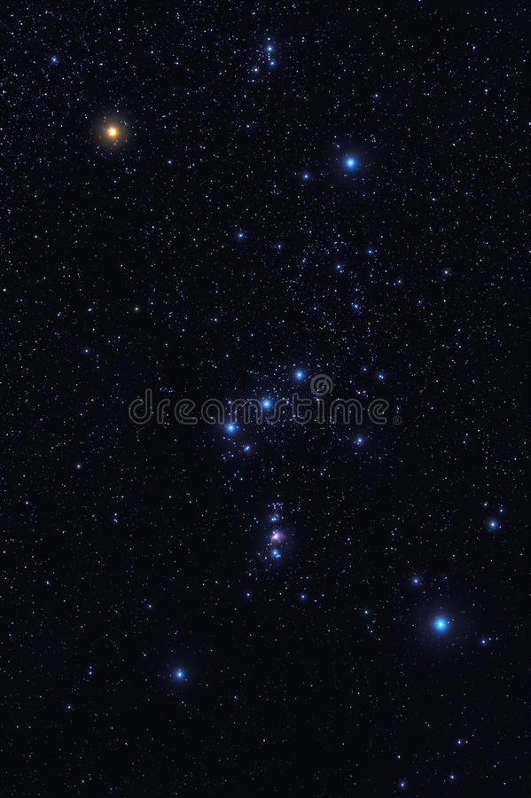 Orion constellation. Dark night sky with bright shining stars of Orion constellation stock photo