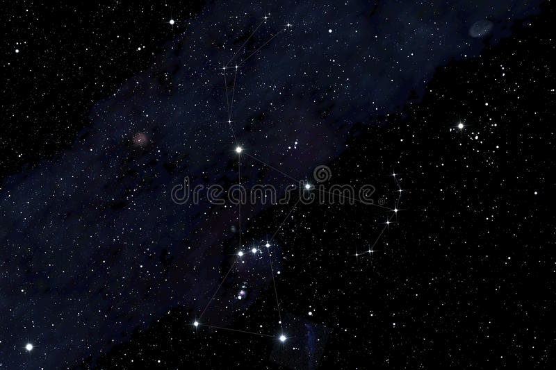 Orion constellation. On the deep sky background vector illustration