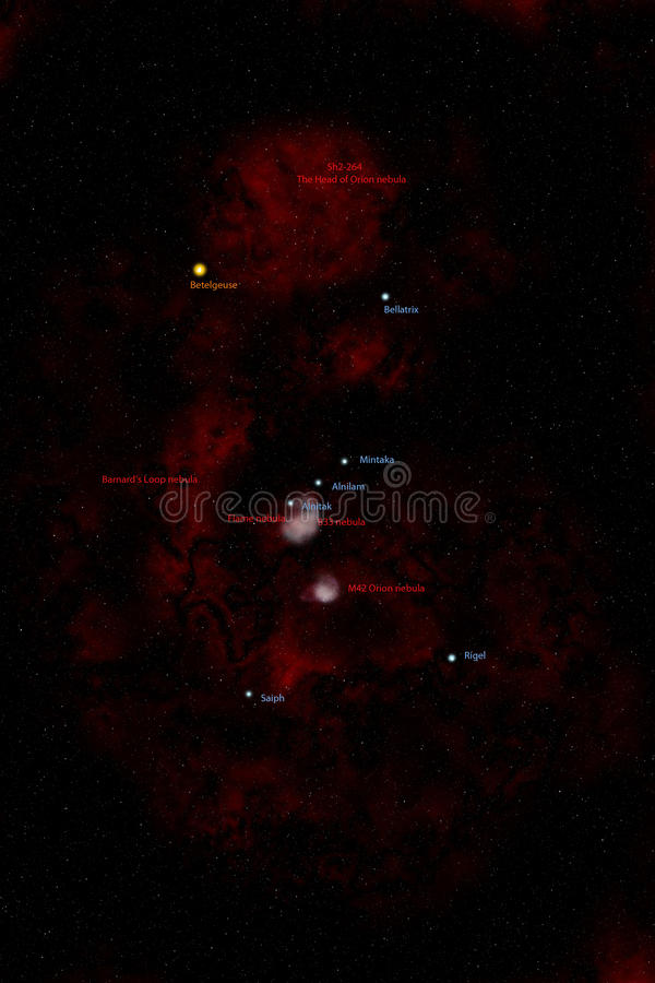 Orion Constellation, Labelled Artist Impression. Royalty Free Stock Photo
