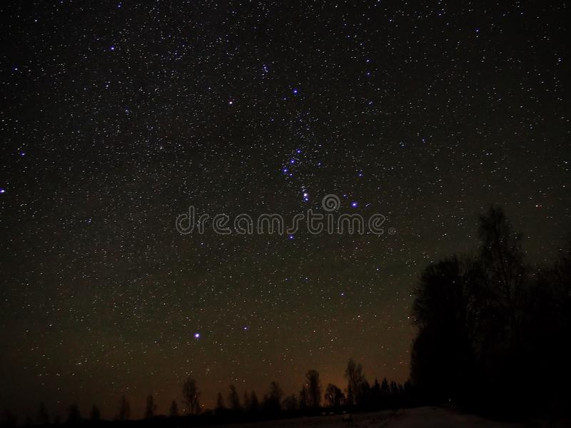Night sky stars Orion constellation Sirius star royalty free stock photos