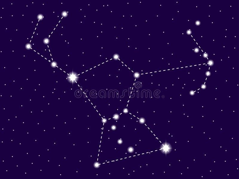 Orion Constellation starry nattsky Klunga av stjärnor och galaxer Djupt avst?nd vektor stock illustrationer