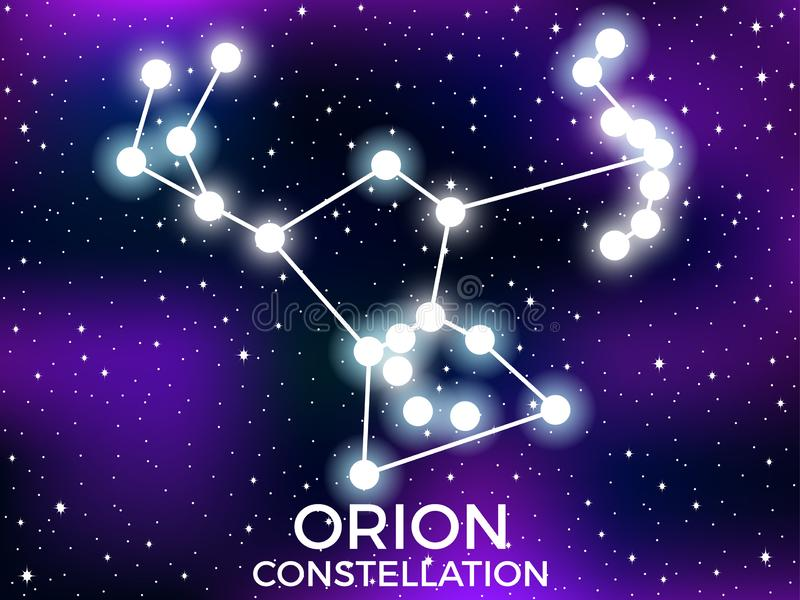 Orion constellation. Starry night sky. Cluster of stars and galaxies. Deep space. Vector. Illustration stock illustration