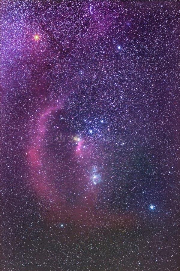 Orion Constellation und Barnards Schleifen-Nebelfleck stockfotos