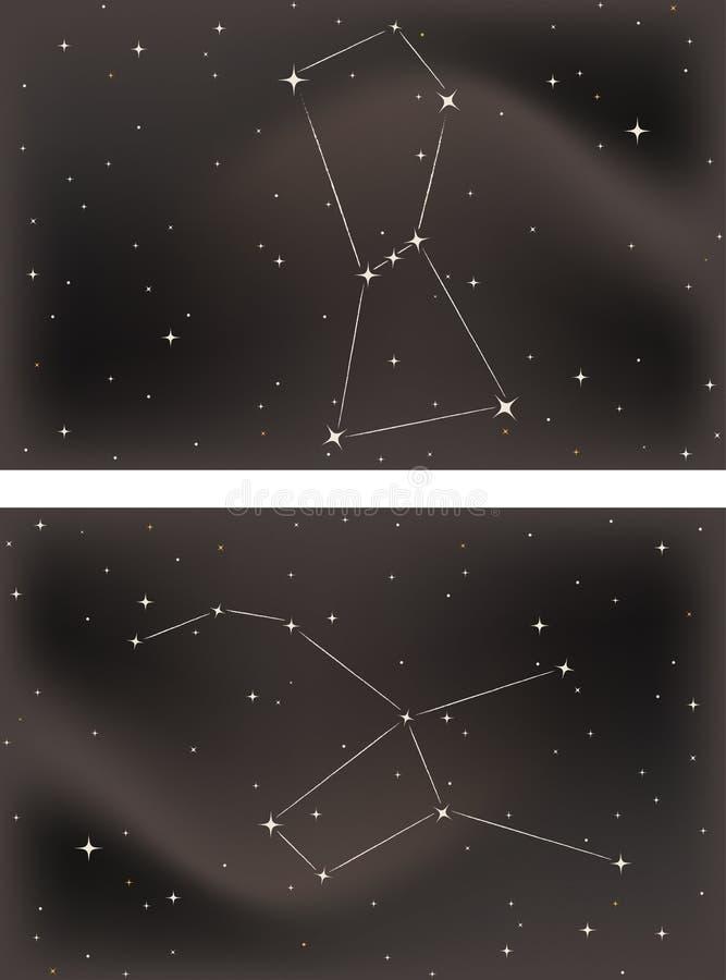 Orion el cazador y el Lepus las liebres stock de ilustración