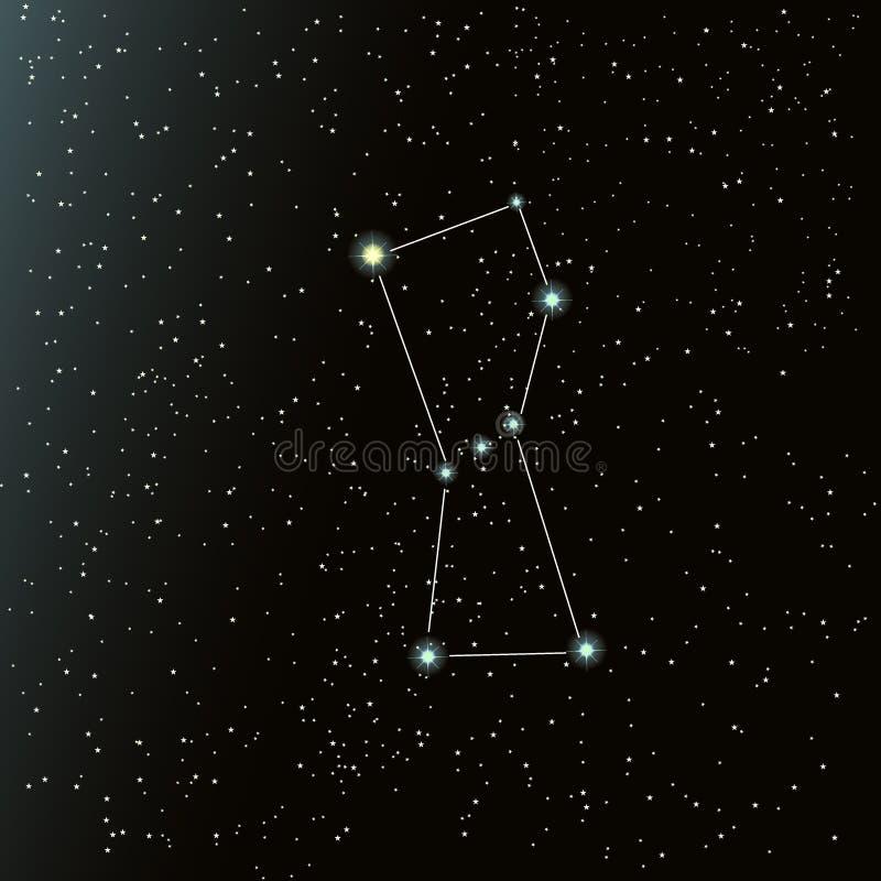 Orion konstellation i natthimmel royaltyfri illustrationer