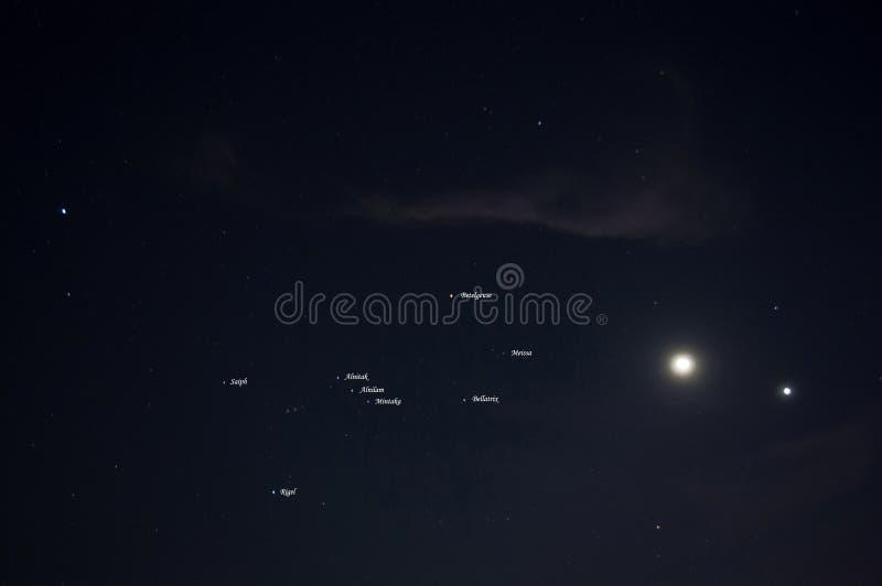 Orion konstellation med namn arkivbild