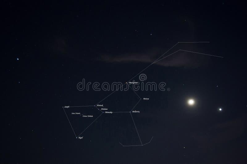 Orion konstellation med namn och linjer arkivfoto