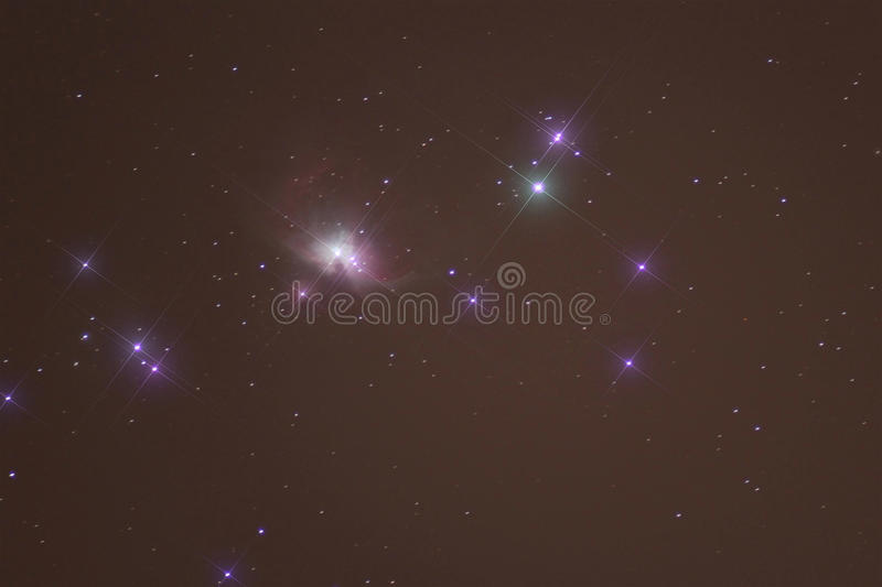 Orion nebula Messier M42 or NGC 1976 astrophotography stock image