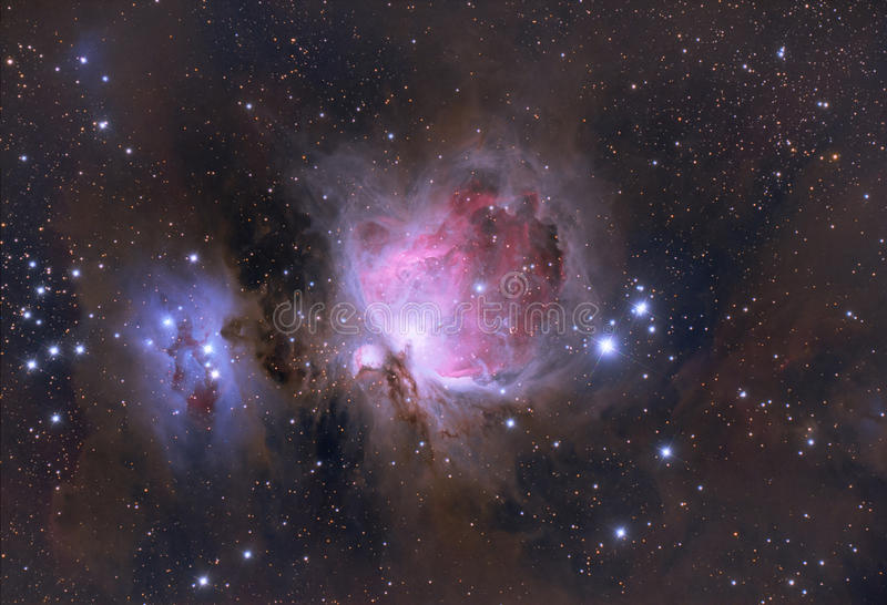 Orion Nebula in the constellation of Orion. Orion Nebula (Messier 42, M42, NGC 1976) in the constellation of Orion stock photo