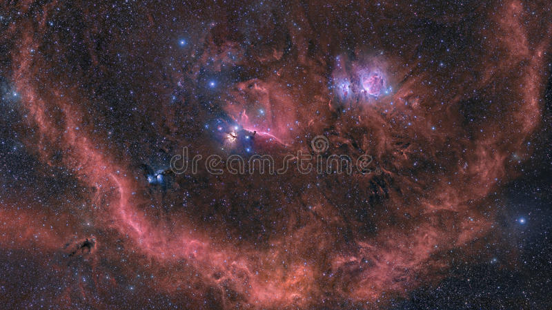 Orion Nebula and surrounding area royalty free stock photography