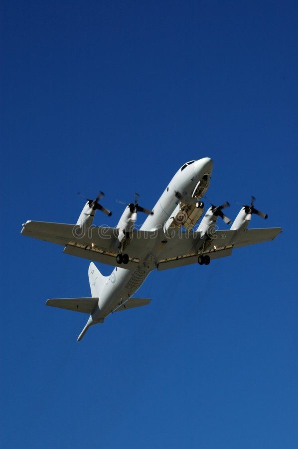 Orion P-3 aircraft in flight stock images