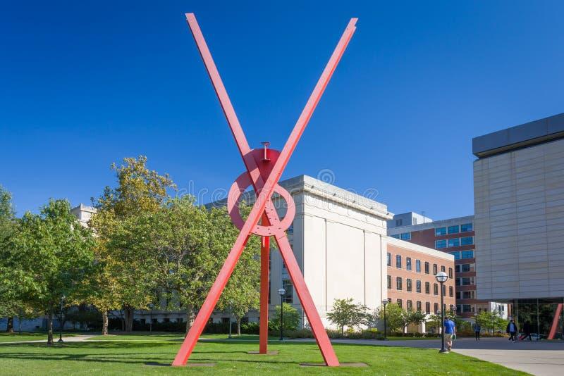 Orion Sculpture op de campus van de Universiteit van Michigan royalty-vrije stock afbeeldingen