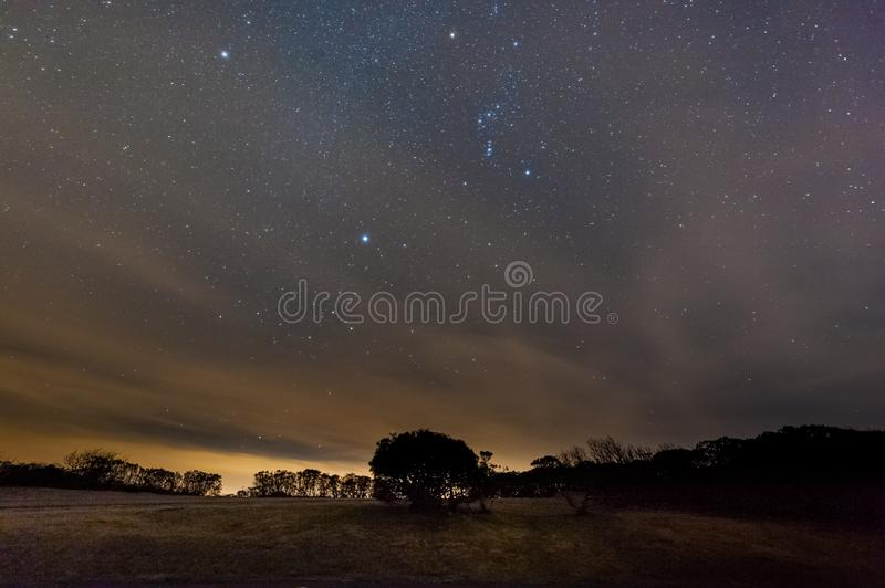 Orion and Sirius in the night Sky stock image