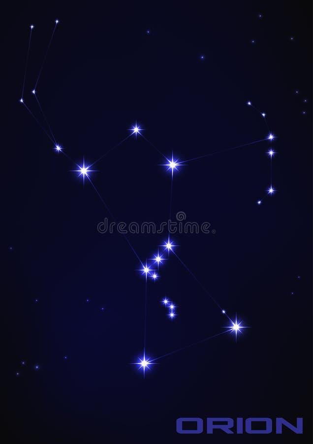 Orion stjärnakonstellation stock illustrationer