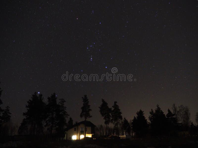 Orionconstellatie en Sirius-ster op nachthemel royalty-vrije stock afbeelding