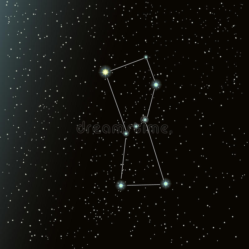 Orionconstellatie in nachthemel royalty-vrije illustratie