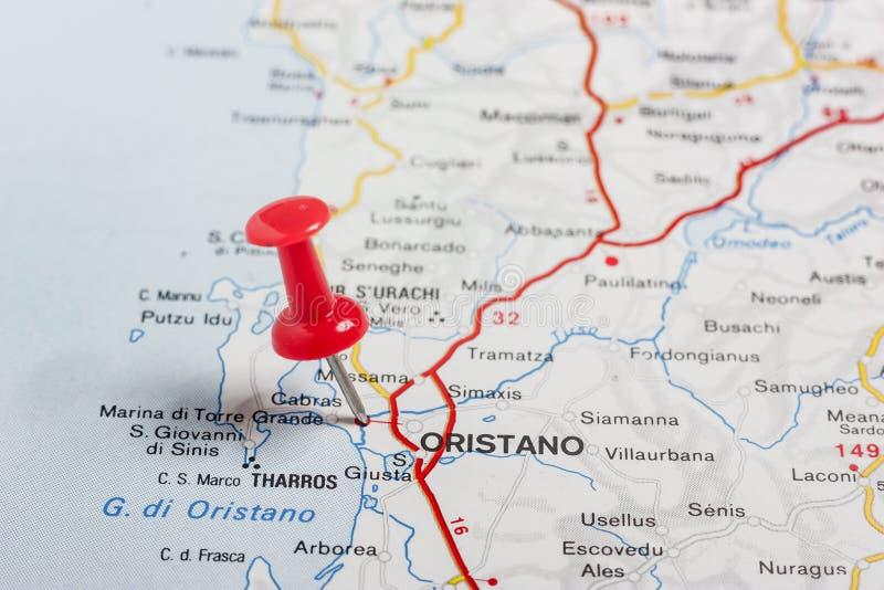 Oristano a goupillé sur une carte de l'Italie photo libre de droits
