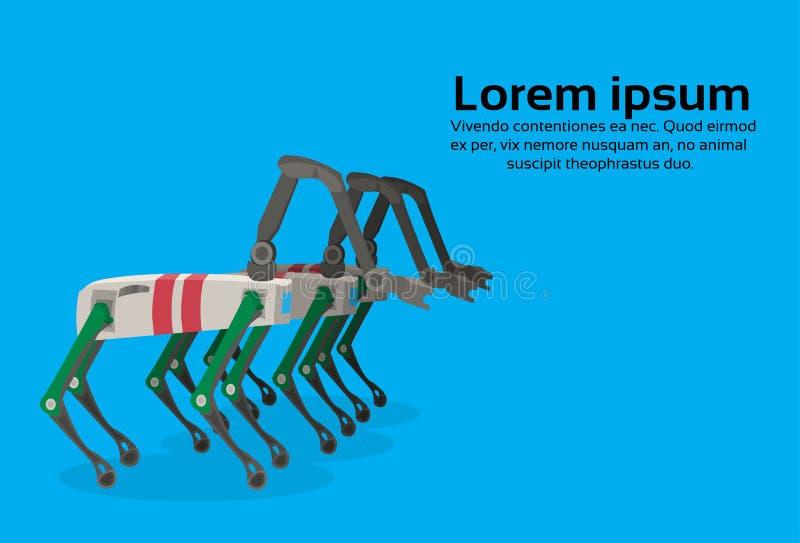 Orizzontale blu piano dello spazio della copia del fondo della renna meccanica robot del carattere di industria del clone dei cer illustrazione di stock
