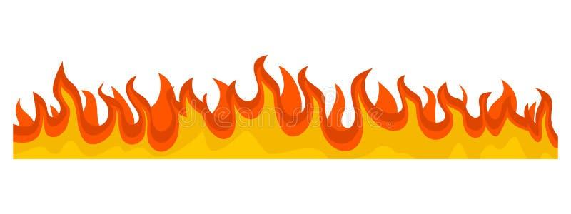Orizzontale bruciante dell'insegna della fiamma del fuoco, stile piano royalty illustrazione gratis